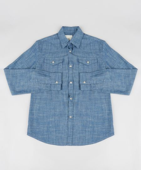 c92c8caac5 Menor preço em Camisa Jeans Infantil Chambray Manga Longa Azul Escuro