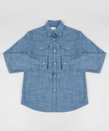 Camisa-Jeans-Infantil-Chambray-Manga-Longa-Azul-Escuro-9188214-Azul_Escuro_1