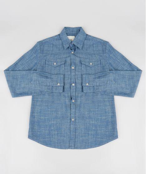 da29637c9f25f Camisa Jeans Infantil Chambray Manga Longa Azul Escuro - cea