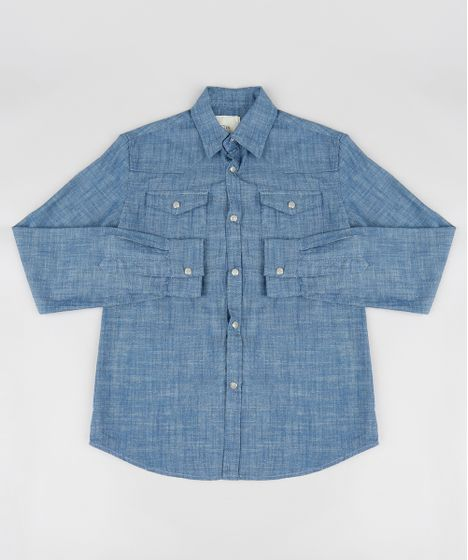 b1c82fcc008b1 Camisa Jeans Infantil Chambray Manga Longa Azul Escuro - cea