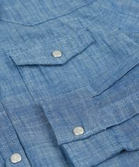 c9b168c89bedd Camisa Jeans Infantil Chambray Manga Longa Azul Escuro - ceacollections