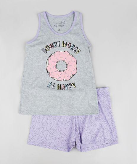 Pijama-Infantil-Donut-Regata-Decote-Nadador-Cinza-Mescla-9340354-Cinza_Mescla_1