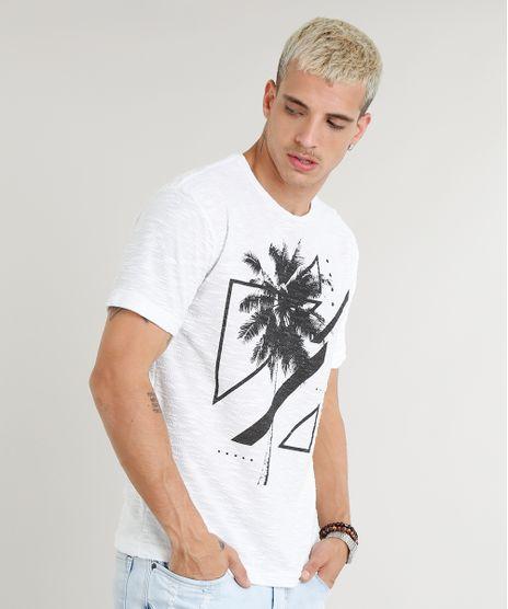 a4fc27b0b Camiseta-Masculina-Coqueiro-Manga-Curta-Gola-Careca-Branca-