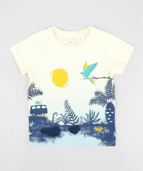 Camiseta-Infantil-com-Estampa-Interativa-de-Selva-Manga-Curta-Gola-Careca-Amarela-9412408-Amarelo_1
