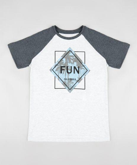 Camiseta-Infantil-Raglan-com-Estampa--Fun--Manga-Curta-Gola-Careca-Cinza-Mescla-Claro-9389321-Cinza_Mescla_Claro_1