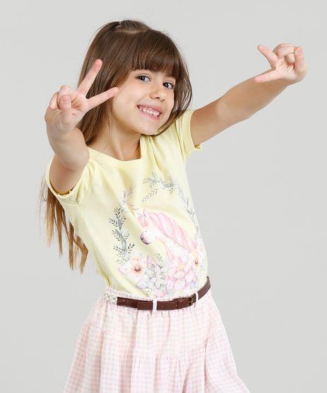 Blusa-Infantil-Unicornio-com-Glitter-e-Paetes-Manga-Curta-Decote-Redondo-Amarela-9311835-Amarelo_1