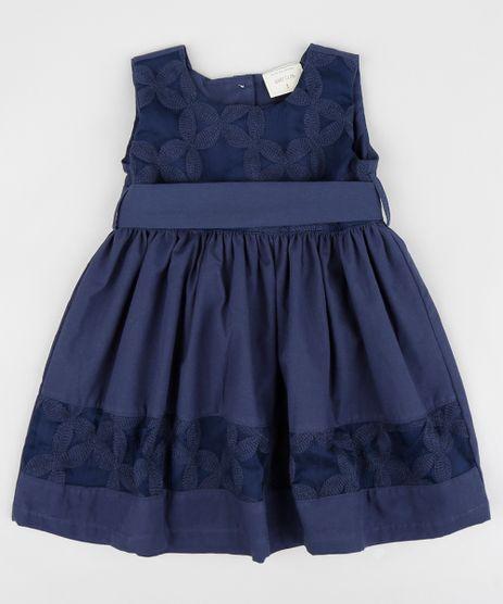 Vestido-Infantil-Bordado-Floral-com-Laco-Sem-Manga-Azul-Marinho-9378648-Azul_Marinho_1