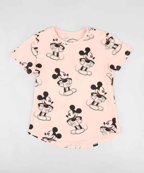 Blusa-Infantil-Estampada-Mickey-Manga-Curta-Decote-Redondo-Coral-9300987-Coral_1