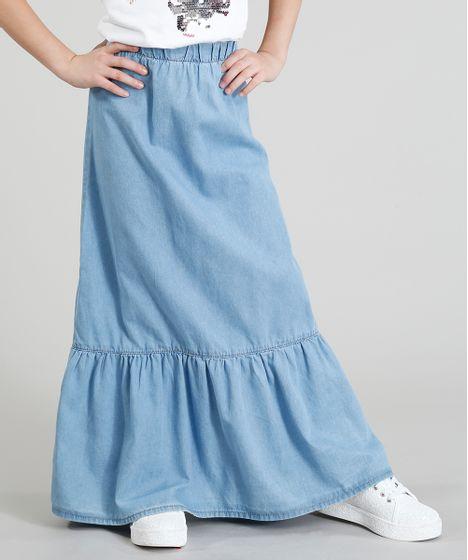 07773e257a Saia Jeans Infantil Longa com Babado Azul Claro - cea