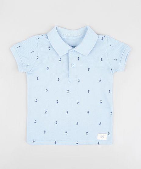 Polo-Infantil-em-Piquet-Estampada-de-Coqueiros-Manga-Curta-Azul-Claro-9232274-Azul_Claro_1