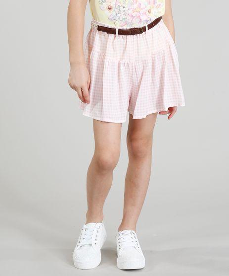 Short-Infantil-Estampado-Xadrez-Vichy-com-Cinto-Trancado-Rosa-Claro-9182779-Rosa_Claro_1