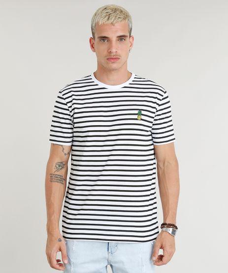 Camiseta-Masculina-Estampada-Listrada-com-Bordado-de-Abacaxi-Manga-Curta-Gola-Careca-Branca-9295133-Branco_1