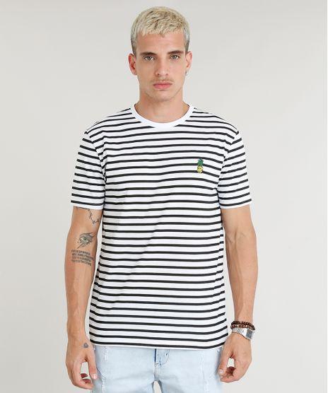 eff29eca3 Camiseta-Masculina-Estampada-Listrada-com-Bordado-de-Abacaxi-
