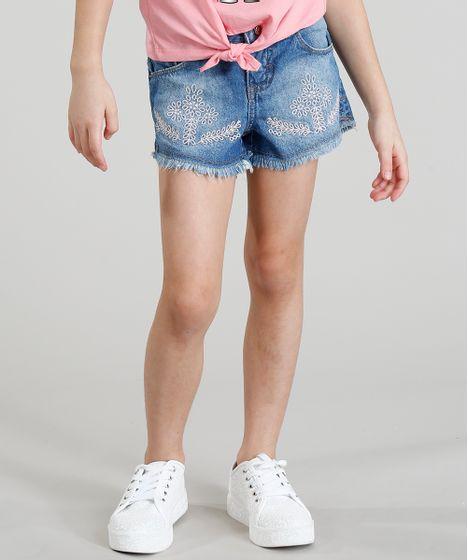 afc2cbc59 Short jeans infantil com bordado de ramos e barra desfiada azul jpg 468x560  Short jeans barra
