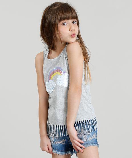 Regata-Infantil-Arco-Iris-com-Paete-Dupla-Face-e-Franjas-Decote-Redondo-Cinza-Mescla-9254086-Cinza_Mescla_1