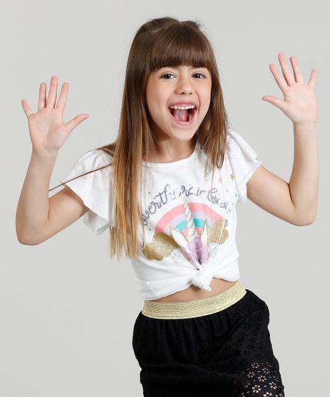 Blusa-Infantil-Unicornio-com-Paete-e-Glitter-Manga-Curta-Decote-Redondo-Branca-9311833-Branco_1