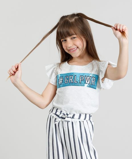 Blusa-Infantil---GRLPWR--com-Paete-Manga-Curta-Decote-Redondo-Cinza-Mescla-Claro-9311828-Cinza_Mescla_Claro_1