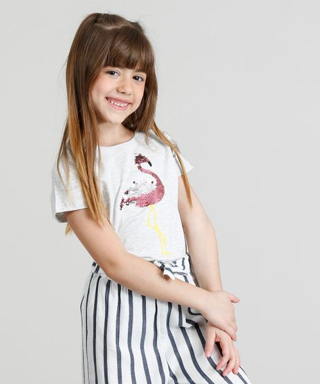 Blusa-Infantil-Flamingo-com-Paete-Dupla-Face-Manga-Curta-Decote-Redondo-Cinza-Mescla-Claro-9331100-Cinza_Mescla_Claro_1