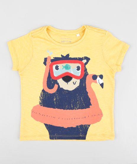 Camiseta-Infantil-com-Urso-Mergulhador-Manga-Curta-Gola-Careca-Mostarda-9412275-Mostarda_1