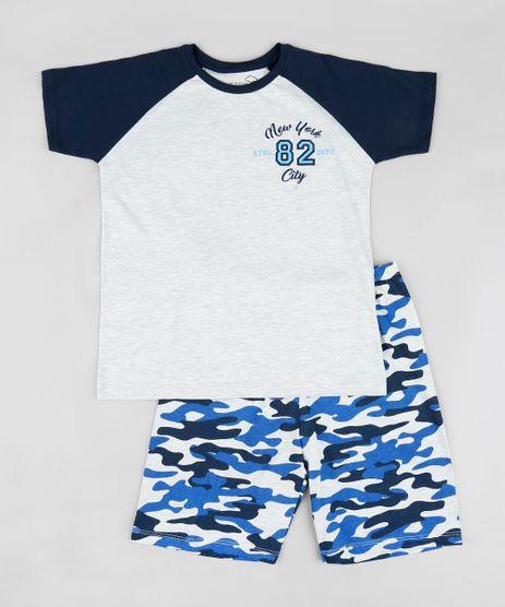 Pijama-Infantil-Raglan--New-York--Manga-Curta-Cinza-Mescla-Claro-9341546-Cinza_Mescla_Claro_1