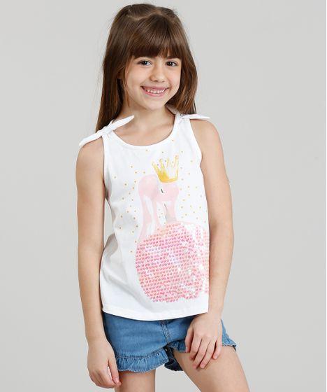 Regata Infantil Flamingo com Paetê Dupla Face Decote Redondo Branca ... edbd19bdd09