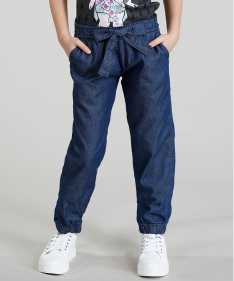 86c5e4f7bf1 Calça Clochard Jeans Infantil com Laço Azul Escuro - cea