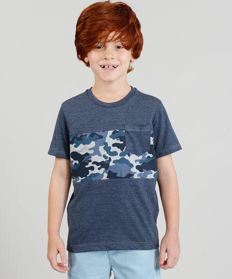 Camiseta-Infantil-com-Estampa-Camuflada-com-Bolso-Manga-Curta-Gola-Careca-Azul-Marinho-9370198-Azul_Marinho_1