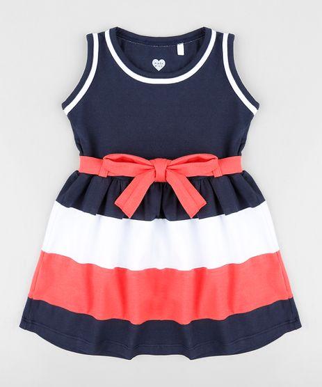 Vestido-Infantil-com-Laco-e-Listras-Sem-Manga-Decote-Redondo-Azul-Marinho-9396024-Azul_Marinho_1