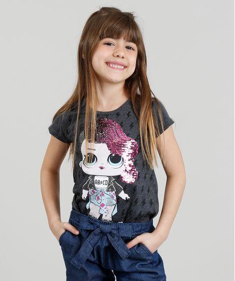 Blusa-Infantil-LOL-Surprise-com-Paete-Dupla-Face-Manga-Curta-Decote-Redondo-Cinza-Mescla-Escuro-9297075-Cinza_Mescla_Escuro_1