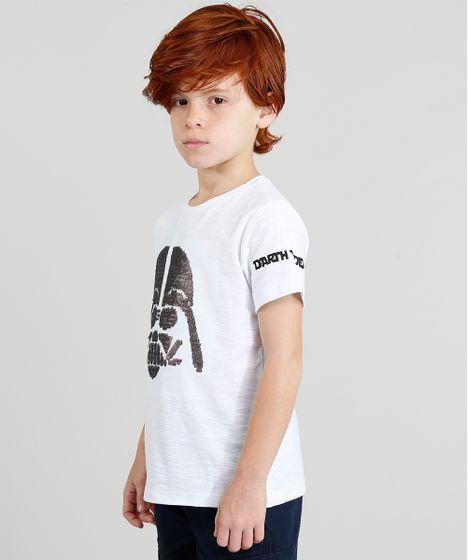 bfbdfc6e41 Camiseta Infantil Star Wars com Paetê Dupla Face Manga Curta Gola ...
