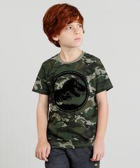 Camiseta Infantil Jurassic World Camuflada Manga Curta Gola Careca ... ae0147657f1