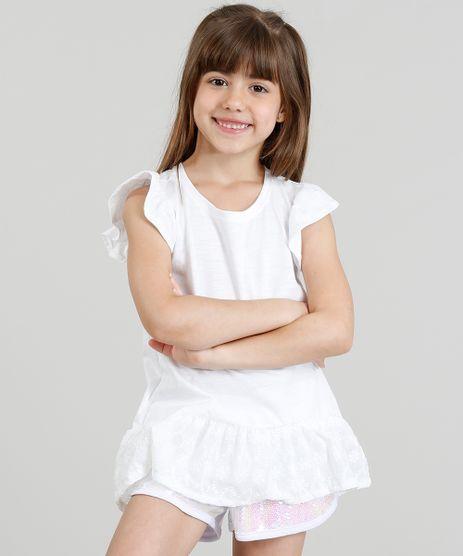 Blusa-Infantil-Longa-com-Laise-Manga-Curta-Decote-Redondo-Branca-9311826-Branco_1