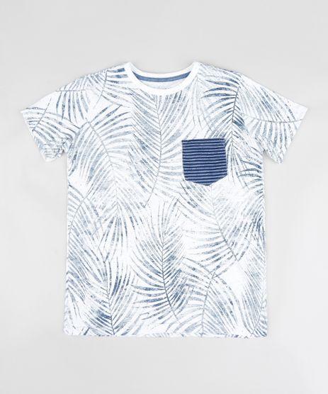 Camiseta-Infantil-Estampada-de-Folhagens-com-Bolso-Manga-Curta-Gola-Careca-Branca-9389296-Branco_1