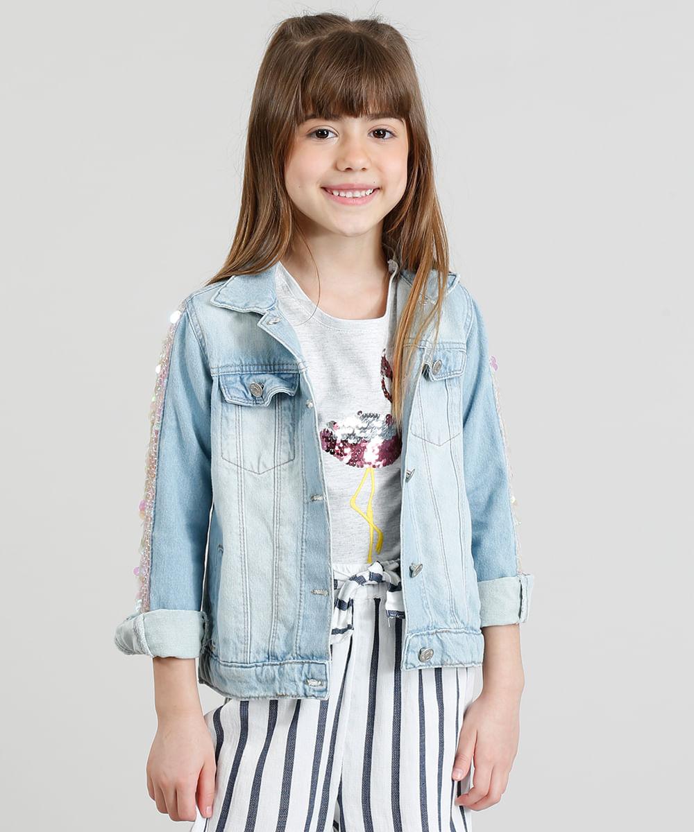 68d4fc6173 Jaqueta Jeans Infantil com Paetês Manga Longa Azul Claro ...