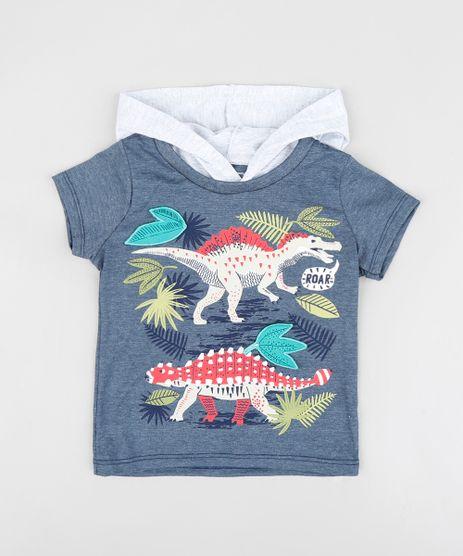 Camiseta-Infantil-com-Estampa-Interativa-de-Dinossauro-e-Capuz-Manga-Curta-Gola-Careca-Azul-Marinho-9412519-Azul_Marinho_1