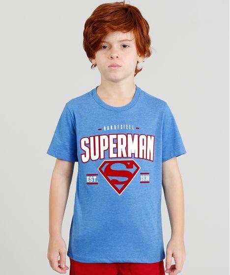 82fd2d047 Camiseta Infantil Super Homem Manga Curta Gola Careca Azul - cea