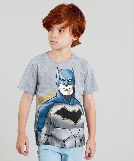 815145678 Camiseta Infantil Batman Manga Curta Gola Careca Cinza Mescla - cea