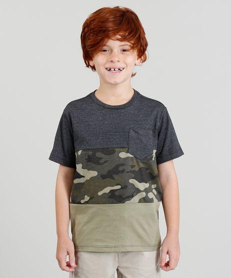 Camiseta-Infantil-com-Estampa-Camuflada-com-Bolso-Manga-Curta-Gola-Careca-Cinza-Mescla-Escuro-9378185-Cinza_Mescla_Escuro_1