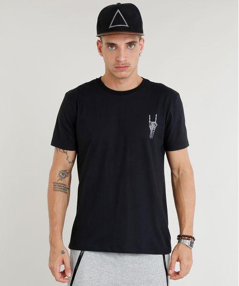 809de3cd1 Camiseta Masculina Caveira Manga Curta Gola Careca Preta - cea