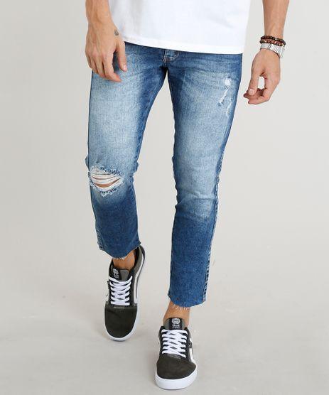 Calca-Jeans-Masculina-Slim-Cropped-com-Rasgos-Azul-Escuro-9305830-Azul_Escuro_1
