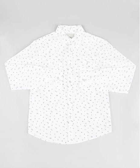 237adc6336 Camisa-Infantil-Estampada-Geometrica-Manga-Longa-Off-White-