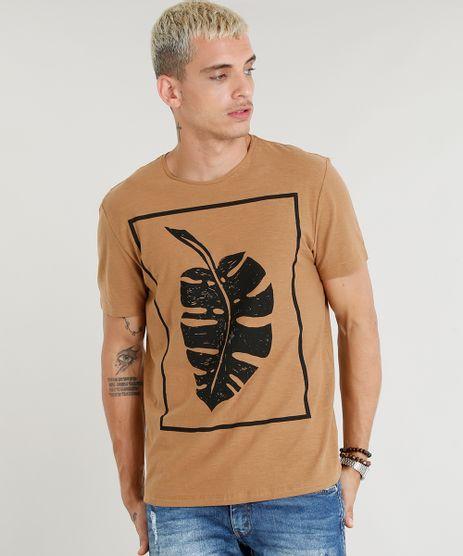 Camiseta-Masculina-Folha-Manga-Curta-Gola-Careca-Caramelo-9350195-Caramelo_1