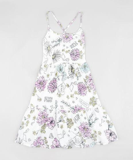 Vestido-Infantil-Estampado-Floral-com-Tiras-Curto-Branco-9182794-Branco_1