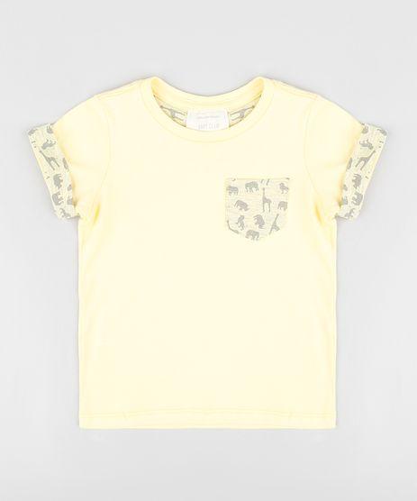 Camiseta-Infantil-com-Bolso-Estampado-de-Dinossauro-Manga-Curta-Gola-Careca-Amarela-9303327-Amarelo_1