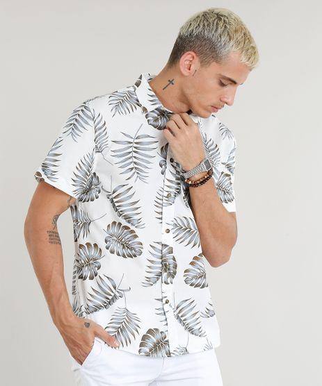 Camisa-Masculina-Estampada-de-Folhagem-com-Bolso-Manga-Curta-Branca-9250500-Branco_1