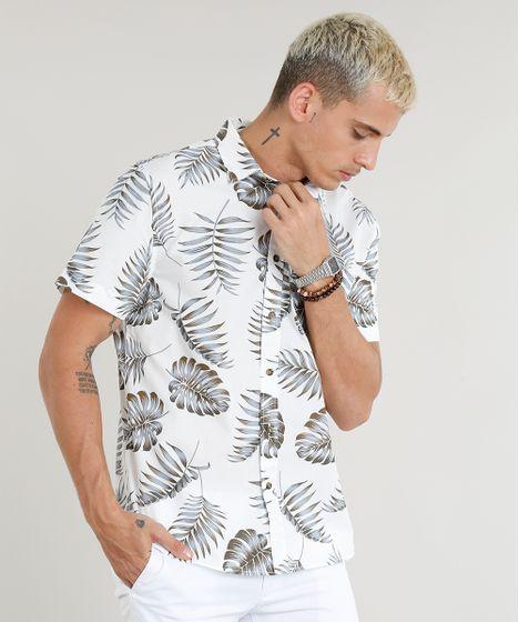 aa7f68aa2b Camisa Masculina Estampada de Folhagem com Bolso Manga Curta Branca ...