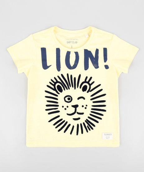 Camiseta-Infantil-Leao-Manga-Curta-Gola-Careca-Amarela-9302664-Amarelo_1