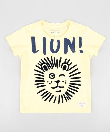 Camiseta Infantil Leão Manga Curta Gola Careca Amarela - cea f02b5da3068d0