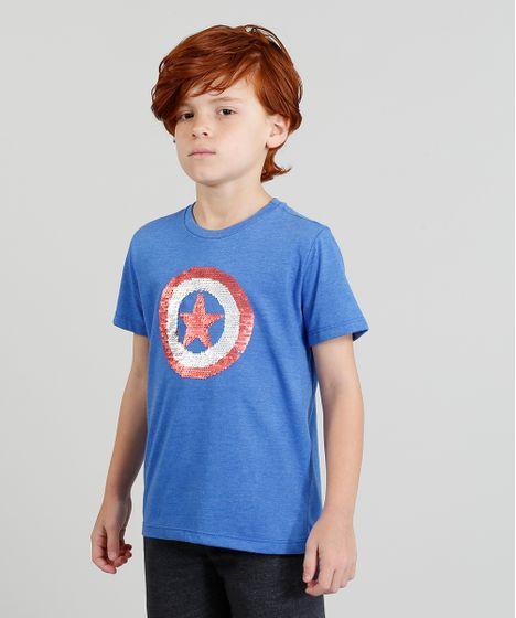 Camiseta Infantil Capitão América com Paetê Dupla Face Manga Curta ... b5783c7d0719d