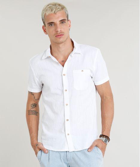 57467f776 Camisa Masculina com Bolso em Linho Manga Curta Branca - cea